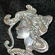 SALE Large Sterling Silver Brooch of a Woman - 1970's