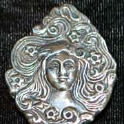 """Sterling  Silver Brooch in the style of """"Mucha"""" - 1970's"""