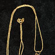 14K Retro Gold Pendant on Chain, 1960's
