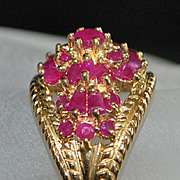 14K Etruscan Style Pave Ruby Ring -  1960's