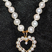 14K Cultured Pearl with Diamond Heart Shaped Pendant Necklace - 1980's
