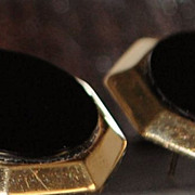 Pair of Retro 14K Gold and Black Onyx Earrings,1960's