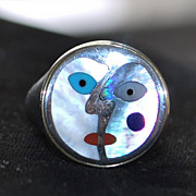 """18K / Sterling """"Picasso"""" Inlaid Face Designer Ring"""