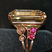 SALE 14K r/g Large Retro Citrine and Ruby Cocktail Ring,1940's