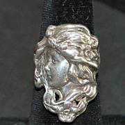 Art Nouveau Sterling Silver Figural Ring