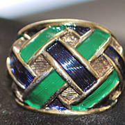 Sterling and Enamel Dome Ring by JOMAZ, 1960's