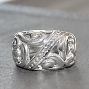 Vintage Sterling Open Pierced Foliate  Design Ring