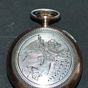 """Swiss 800 Silver """"Guardian Angel""""  Lapel Watch - c.1890"""