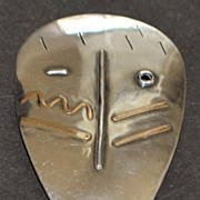 SALE 14K / Sterling Large Custom MAde Mask Brooch - 1990