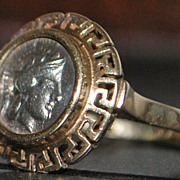 14K Ancient Greek Drachma Coin Ring - 1960's
