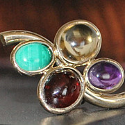 Pair of 14K Multi-Colored Stone Earring - 1980's