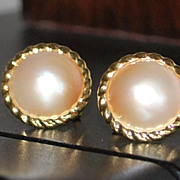 Pair of 14K Mabe Pearl Button Earrings - 1980's
