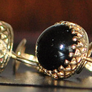 Pair of 14K Retro Black Onyx Clip Earrings- 1940's