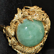 14k Jade Dragon Ring - 1970's