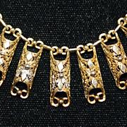 Italian 800 Silver Two Tone Filigree Necklace - 1930's
