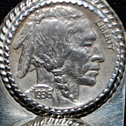 Sterling Five Cent Indian/Buffalo Pendant Necklace
