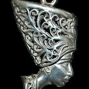 Sterling  Italian Nefertiti Pendant and Chain - 1980's