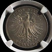 SALE German Taler - Frankfurt - J. Schiller - 1859 - AU58