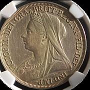 SALE Great Britain Queen Victoria Silver Crown Coin - 1897