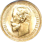 Russian 5 Ruble Gold Coin - 1902  - MS66