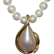 14K Cultured Pearl and Mabe Pearl Enhancer Necklace