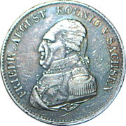 Large German States Silver Thaler Coin - Saxony -1823