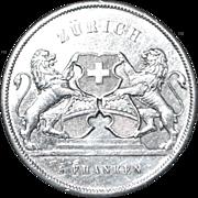 Swiss 5 Franc Silver Coin - Zurich - 1859 - AU