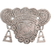 SALE Early 0.900 Silver Aguilar Mask Brooch - 1940's