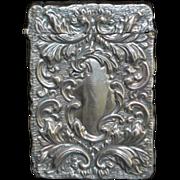 English Art Nouveau Sterling Silver Card Case - 1907