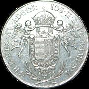 "Large Silver ""Madonna"" Hungary  Thaler   Coin - 1786B - Slabbed - NGC - AU 50"
