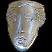 Large Sterling Silver Mask Earrings - 1980's