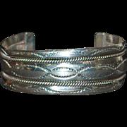 Navajo Sterling Silver Cuff Bracelet - Tahe - 1970's