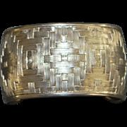 Large Sterling Silver Basket Weave Cuff Bracelet - 1980's