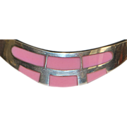 Sterling Silver Pink Enamel Bangle Bracelet - 1980's