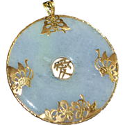 Large Chinese 14K Gold Lavender Jade Disc Pendant - 1970's