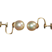 Pair of 14K 9 mm Cultured Pearl Earrings - 1920's