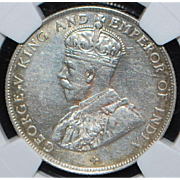 Straits Settlement 50 Cent Silver Coin - 1920 - AU58 - Slabbed