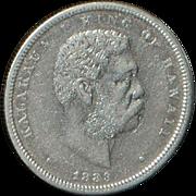 Hawaii 1/2 Dollar Silver Coin - 1883 - XF