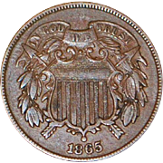 United States Two Cent Copper Coin - 1865 - AU Details