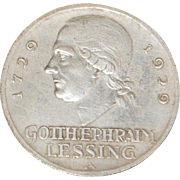 German Lessing 3  Reichsmark Silver Coin - 1929 - A