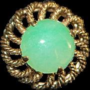 Pair of 14K Gold and Jade Earrings  - 1960's