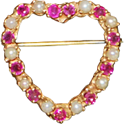 14K Ruby and Seed Pearl Lover's Heart Pin - 1960's