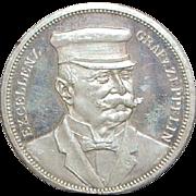 German Graf Zeppelin Ein Thaler Silver Coin - 1908 - Near Mint