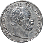 """Prussian Silver """"Victory Over France"""" Thaler Coin - 1871- A"""