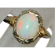 14k Art Deco Harlequin Opal Filigree Ring - 1920's