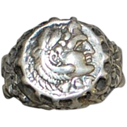Sterling Silver Man's Roman Coin Ring - 1920's