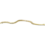 14K Heart Shaped Diamond Line Bracelet - 1980's
