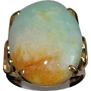 14K Large Multi-colored Jade Ring - 1970's