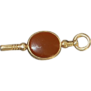 English Victorian 9K Gold and Stone Watch Key - 1890's