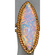 18K Large Ethiopian Flame Opal Ring